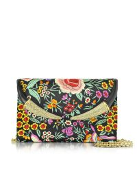Roberto Cavalli | Floral Embroidered Black Satin Clutch W/crystals | Lyst