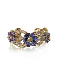 Roberto Cavalli - Metallic Goldtone Brass Bangle W/crystals And Flower - Lyst