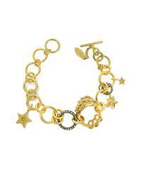 Roberto Cavalli - Metallic Lion Golden Metal Bracelet W/crystals - Lyst