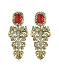 Roberto Cavalli | Metallic Renaissance Light Gold Tone Metal And Ruby Clip On Earrings | Lyst