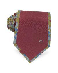 Mila Schon - Red Burgundy Animal Print Jacquard Silk Tie for Men - Lyst