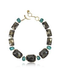 Tory Burch | Green Goldtone Brass W/ Denim Blue Crystals Necklace | Lyst