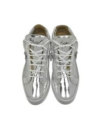 Giuseppe Zanotti - Metallic Vegas Shooting Silver Leather Sneakers for Men - Lyst