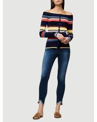 FRAME - Blue Stripe Shoulder Sweater - Lyst