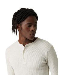 Frank + Oak - Long Sleeve Waffle Knit Henley In Off-white Heather for Men - Lyst