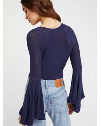 Free People - Blue Soo Dramatic Long Sleeve Top - Lyst