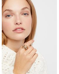 Free People - Metallic Twisted Raw Stones Ring - Lyst