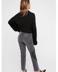 Free People - Gray Embroidered Girlfriend Jeans - Lyst