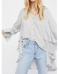 Free People - Gray Stripes On My Mind Top - Lyst