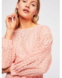 Free People - Pink Runaways Long Sleeve Mini Dress - Lyst