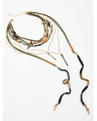 Free People - Multicolor Ranchero Leather Necklace - Lyst