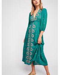 Free People - Green Embroidered Fable Midi Dress - Lyst