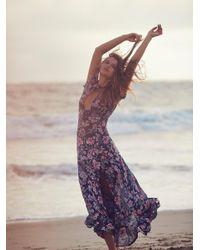 Free People   Blue Flora Maxi Dress   Lyst