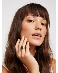 Free People | Brown Stone Signet Ring | Lyst