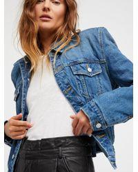 Free People - Blue Strong Shoulder Denim Jacket - Lyst