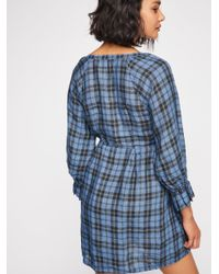 Free People - Blue Sofiya Plaid Babydoll Tunic - Lyst