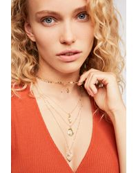 Free People - Yellow Delicate Tiered Stone Necklace - Lyst