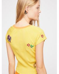 Free People - Yellow Mermaid And Stars Tee - Lyst