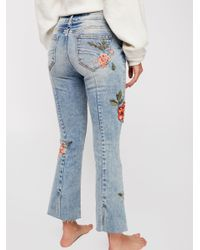 Free People - Blue Driftwood Roxy Crop Flare Jeans - Lyst