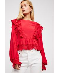 Free People - Red Take It Easy Top - Lyst