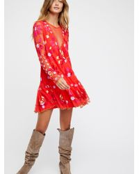 Free People | Red Clothes Dresses Hearts Are Wild Mini Dress | Lyst