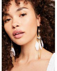 Free People - White Majorelle Feather Earrings - Lyst