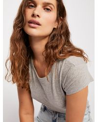 Free People - Gray Baby Crew Neck Tee By Intimately - Lyst