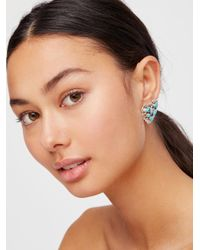 Free People - Blue Turquoise Cluster Heart Studs - Lyst