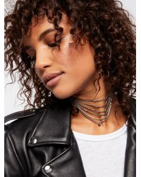 Free People - Metallic Accessories Jewelry Necklaces Athena Tiered Crystal Necklace - Lyst