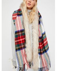 Free People - Red Accessories Scarves Countryside Luxe Plaid Scarf - Lyst