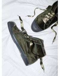 Free People | Green Shoes Sneakers Velvet Tennis Mid Top Sneaker | Lyst