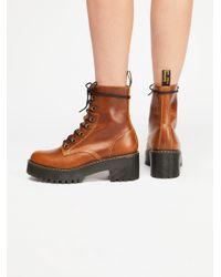 Free People - Brown Dr. Martens Leona Platform Ankle Boot - Lyst