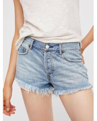 Free People | Blue Soft & Relaxed Cut Off | Lyst