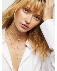 Free People   Brown Delicate Tiered Stone Necklace   Lyst