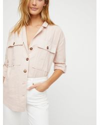 Free People - Pink Sunshine In My Pockets Buttondown - Lyst