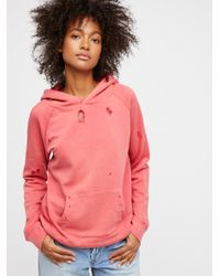 Free People - Red Hand Me Down Hoodie - Lyst