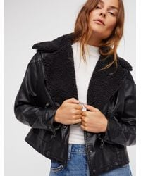 Free People | Black Halen Vegan Moto Jacket | Lyst