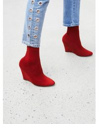 Free People - Red Vegan Luxe Sock Boot - Lyst
