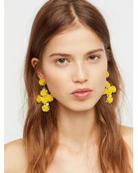 Free People - Yellow Rose Cross Statement Earrings - Lyst