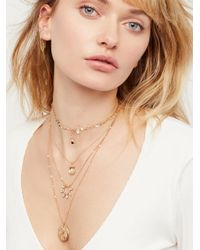 Free People - Natural Delicate Tiered Stone Necklace - Lyst