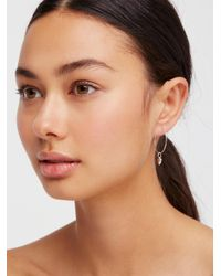 Free People - Metallic 14k Vermeil Love Sleeper Hoop Earrings By Erth Jewellery - Lyst