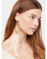 Free People | Multicolor Feather Drop Hoop Dusters | Lyst