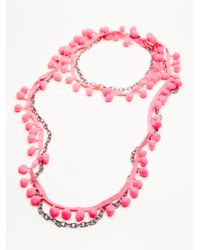 Free People - Pink Summer Dreaming Pom Necklace - Lyst