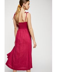 Free People - Red Solace Midi Dress - Lyst