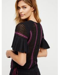Free People - Black Striped Babes Only Tee - Lyst