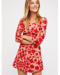 Free People - Red Temecula Bow Back Mini Dress - Lyst