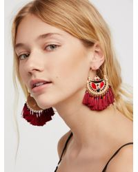 Free People - Red Arabian Nights Fan Hoops - Lyst