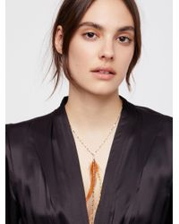 Free People - Multicolor Glistening Delicate Feather Necklace - Lyst