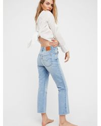 Free People - Blue Levi's 517 Cropped Boot Cut Jeans - Lyst