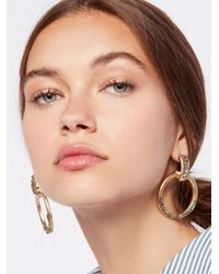 Free People - Metallic Stoned Farrah Knocker Hoops - Lyst